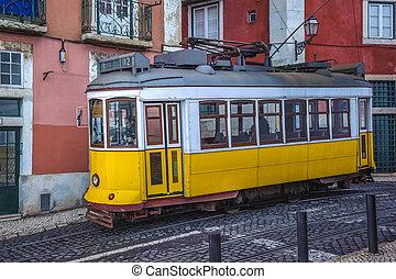 vinobraní, zbabělý, tramvaj, znak, o, lisabon, portugalsko