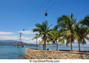 VINPEARL RESORT, NHA TRANG, VIETNAM - NOV 24, 2014 - Scenery outside Vin Pearl Resort. Vinpearl Cable Car is a 3,311 metres long gondola lift, which links Hon Tre Island with Nha Trang.