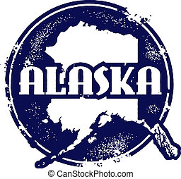 Vintaeg Style Alaska State Stamp - Distressed vector Alaska ...