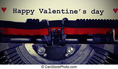vintag, machine écrire, texte, jour, heureux, valentin, s, écrit