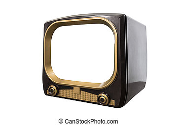 VIntage 1950s Television Isolated with Cut Out Screen