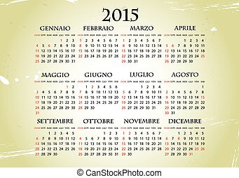 illustration of 2015 calendar with vintage background, italian language