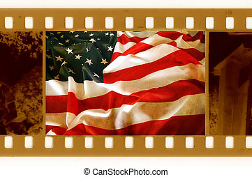 vintage 35mm with old USA flag