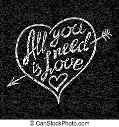 Vintage 'All you need is love' hand written...