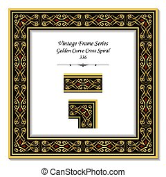 Vintage 3D frame of Golden Curve Cross Spiral