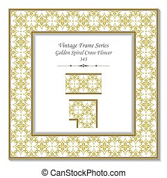 Vintage 3D frame of Golden Spiral Cross Flower