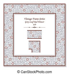 Vintage 3D frame of Grey Leaf Red Flower
