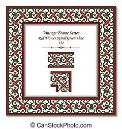 Vintage 3D frame of Red Flower Spiral Green Vine