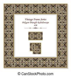Vintage 3D frame of Retro Brown Polygon Triangle Kaleidoscope