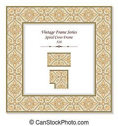 Vintage 3D frame of Retro Brown Spiral Cross Frame
