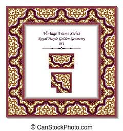 Vintage 3D frame of Royal Purple Golden Geometry