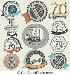 Vintage style Seventy anniversary collection. Retro Seventy anniversary design. Vintage labels for anniversary greeting. Hand lettering style typographic and calligraphic symbols for Seventieth