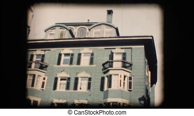 Vintage 8mm. Building with fresco