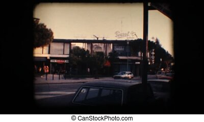 Vintage 8mm. Busy road