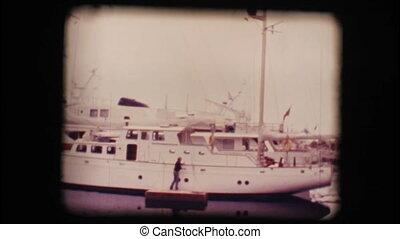 Docked sail boat - Vintage 8mm. Docked sail boat