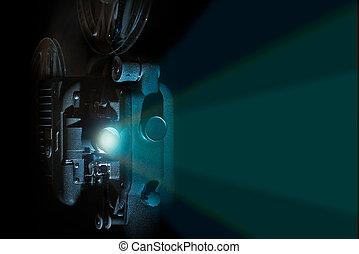 Vintage 8mm film projector light beam