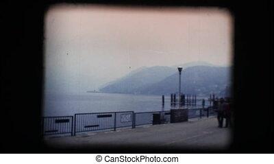 Vintage 8mm. Lakeside walking path