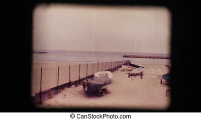 Vintage 8mm. Lonely winter beaches
