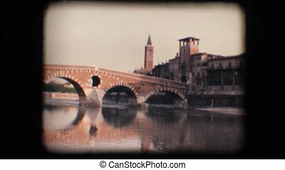 Vintage 8mm. Medieval bridge