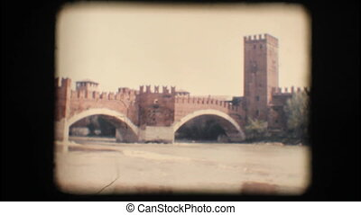 Vintage 8mm. Medieval bridge - Vintage 8mm. Original footage...