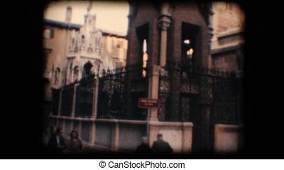 Vintage 8mm. Monument in Verona