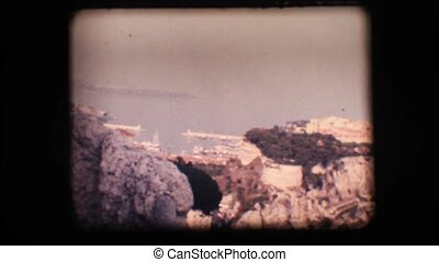 Vintage 8mm. Old town on a cliff