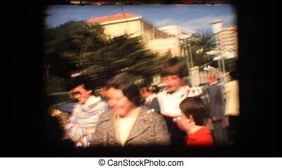 Vintage 8mm. People in a market