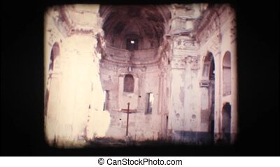 Vintage 8mm. Ruins of an old church in Old Bussana, Italy