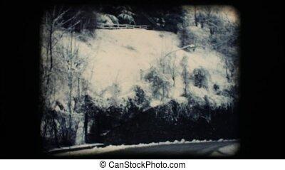 Vintage 8mm. Snowy street