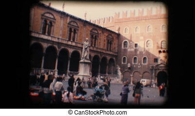 Vintage 8mm. Tourists in Verona