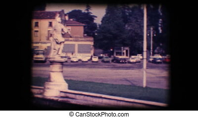 Vintage 8mm. Town square and church