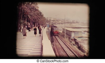 Vintage 8mm. Train passing
