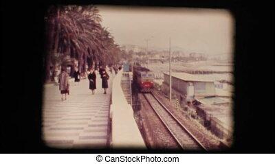 Vintage 8mm. Original footage digitalized. Italian train passing fast