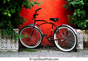A very old bike escaping the busy streets of Croatia