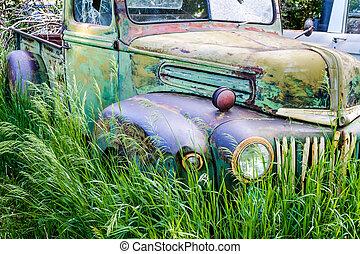 Vintage Abandoned Truck in Field