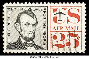 Vintage Abraham Linkoln USA 25c postage stamp