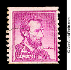 Vintage Abraham Linkoln USA 4c postage stamp