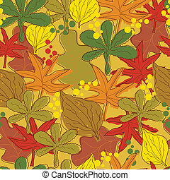 Vintage abstract autumn leaves pattern