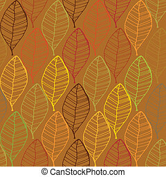 Vintage abstract autumn seamless leaves pattern