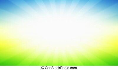 Vintage abstract background of Green field with Blue sky in Sunlight beams