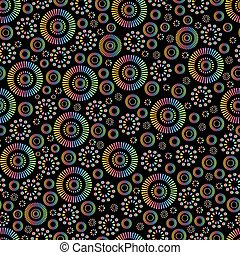 Vintage abstract bright neon color ornament seamless pattern, isolated on black background