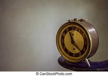 vintage., achtergrond, klok