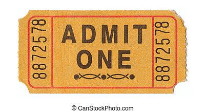 Vintage admission ticket - Generic vintage admit one ticket...