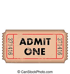 Vintage Admission Ticket - Vintage admission ticket on a...