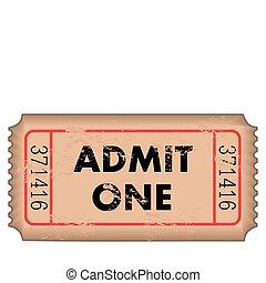 Vintage Admission Ticket - Vintage admission ticket on a...