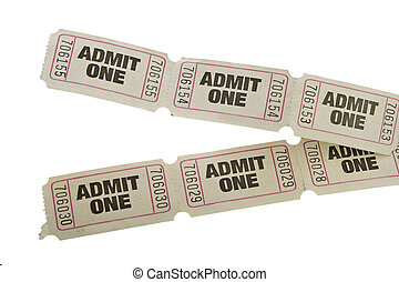 vintage admit one tickets close up