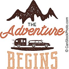 "Vintage adventure Hand drawn label design. ""The Adventure..."