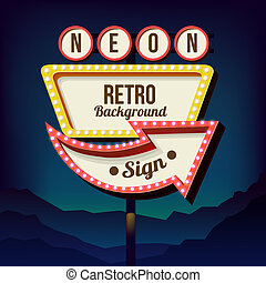 Vintage advertising road billboard with lights. Retro 3d...