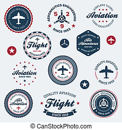 Vintage aeronautics labels - Set of vintage retro...