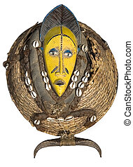 Traditional african mask, handmade from wood, shells, horns, straw, rope, woven, looks very old